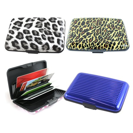 664f4692833b 3 Wallets, Assorted The Elixir Aluminum Silicone Hard Case Credit Card  Wallet RFID Blocking Credit Card Holder
