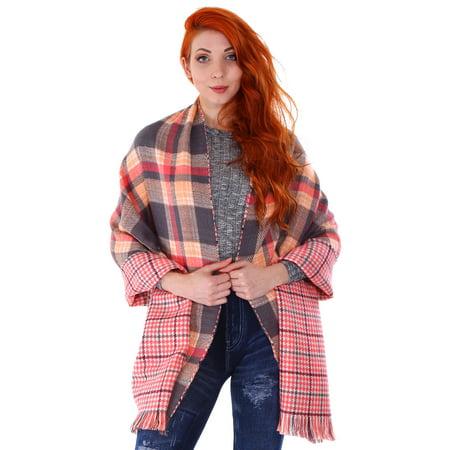 Women Blanket Oversized Tartan Scarf Wrap Shawl Plaid  7206 Green