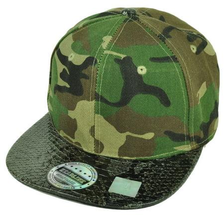 Blank Snapback Flat Bill Brim Hat Cap Snake Skin Visor Green Camo Mens Adult