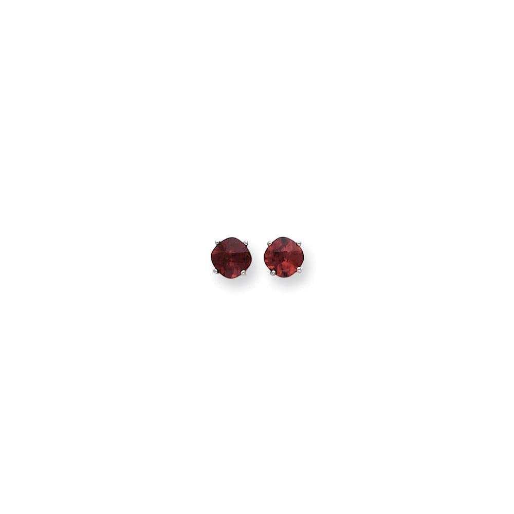 14k White Gold 6x6mm Cushion Garnet Checkerboard Gemstone Earrings 2.4ct
