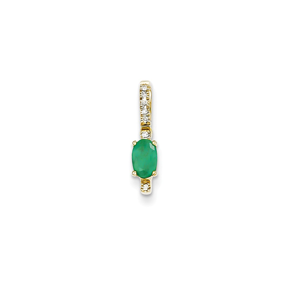 14k Yellow Gold Prong Set Diamond & Emerald Pendant