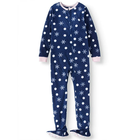 Dalmatian Onesie Kids (Komar Kids Girls' Snowflake Fleece Footed Blanket Sleeper (Little Girls & Big)