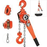 "VEVOR Manual Lever Chain Hoist 3300 lbs, Chain Come Along 5 feet, Ratchet Chain Hoist 1-1/2 ton, Come Along Puller 5/16"" Diameter, for Warehouse Garages Construction Zones"