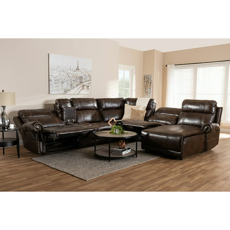 Baxton Studio Dacio Modern and Contemporary Brown Faux Leather Upholstered 6-Piece Sectional Recliner Sofa with 2 Reclining - Seat Recliner Sectional