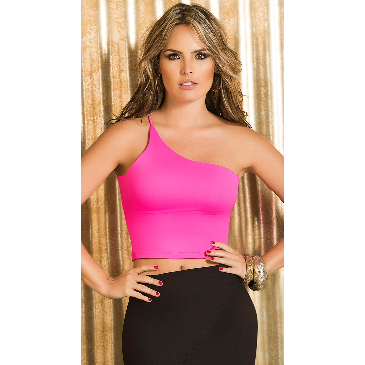 Single Shoulder Pink Neon Madness Top