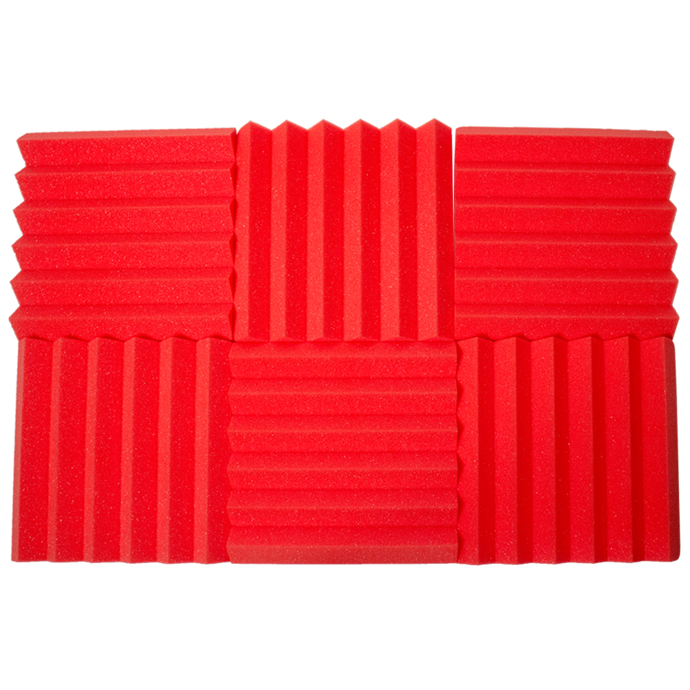 Seismic Audio 6 Pack of Red 2 Inch Studio Acoustic Foam Sheets - Sound Dampening Tiles - SA-FMDM2-Red-6Pack