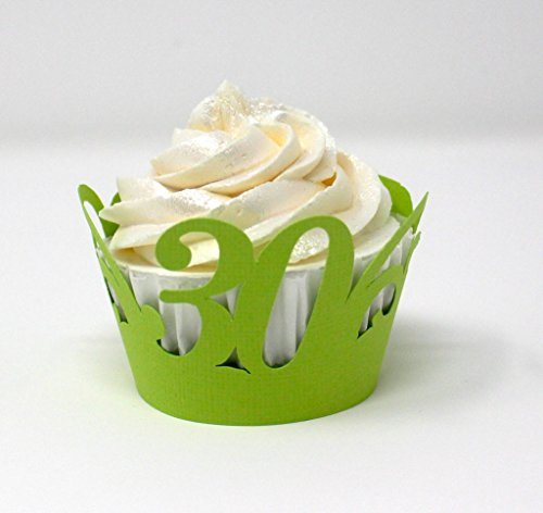All About Details 30 Cupcake Wrappers,12pcs, 30th birthday decoration, 30th anniversary decoration (Lime Green)