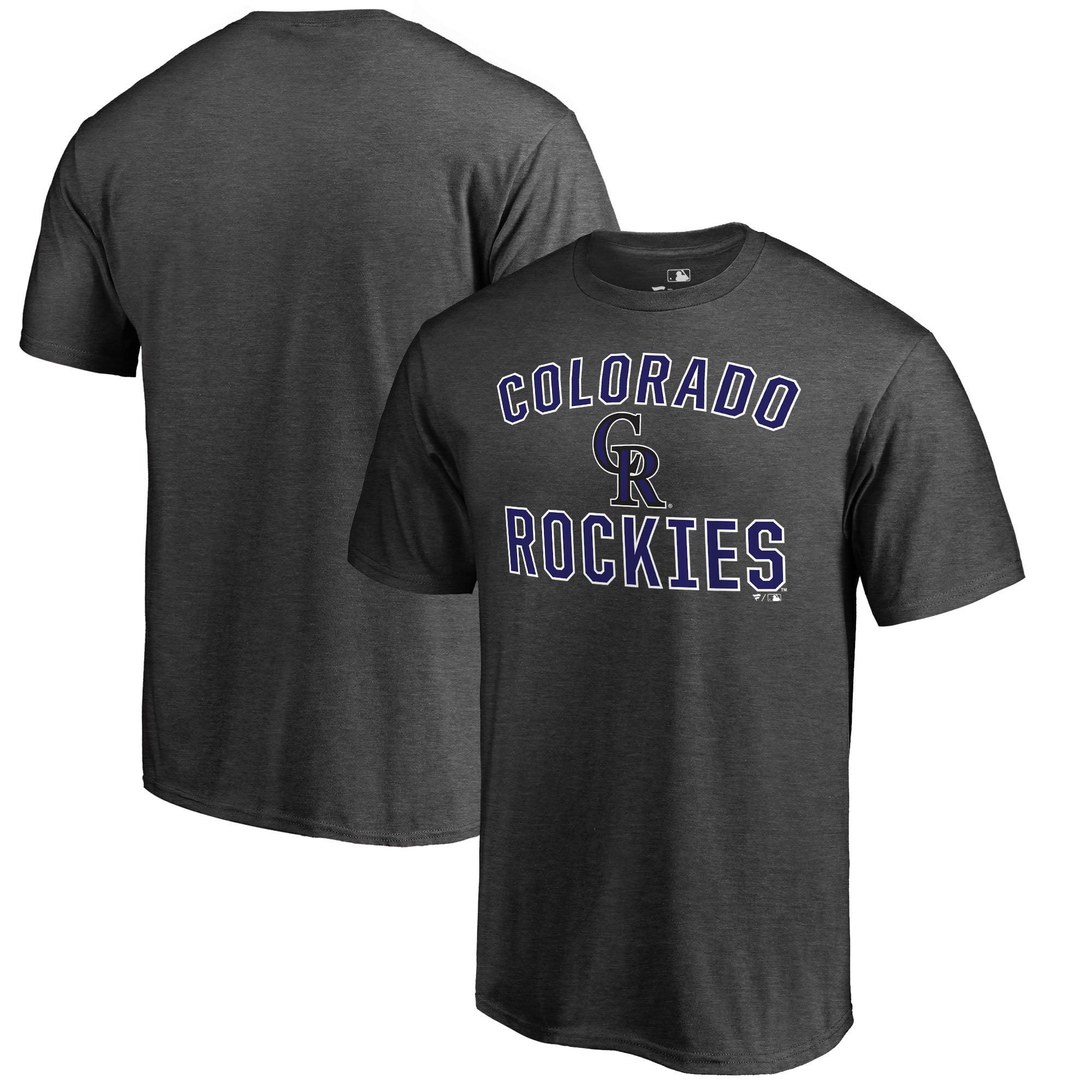 Colorado Rockies Fanatics Branded Core Basics Victory Arch T-Shirt - Heathered Gray