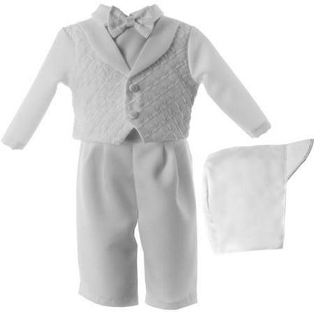 06b301d6f Newborn Baby Boy 3pc Christening Long Pant Set with Diamond ...