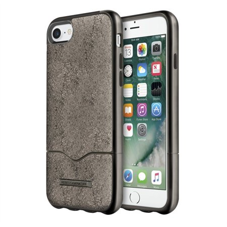 Incipio Rebecca Minkoff Slide Case - Back cover for cell phone - genuine leather - metallic, cracked leather anthracite - for Apple iPhone