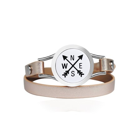 Compass Essential Oil Bracelet Stainless Steel Champagne Double Strap Color Band Jewelry with Gift Box