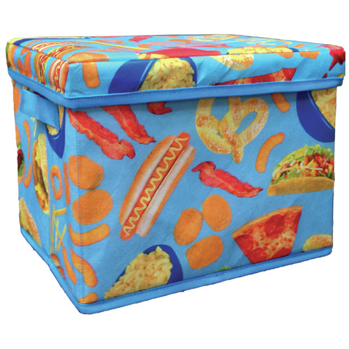 Iscream Junk Food Collapsible Fabric Storage Bin with Lid and Handle