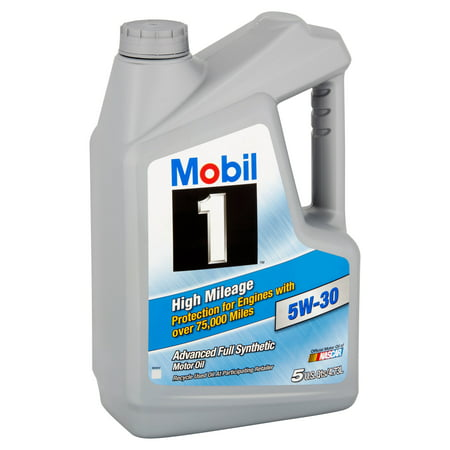 Mobil 1 5w 30 high mileage full synthetic motor oil 5 qt for Best high mileage synthetic motor oil