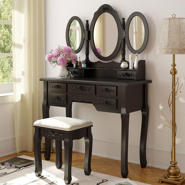Ktaxon Vanity Table Make Up Table Set w/Stool 7 Drawer & 3 Mirrors Fold Black