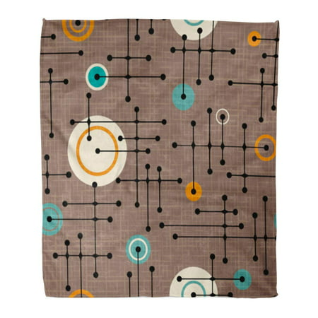 SIDONKU 50x60 inch Super Soft Throw Blanket Brown Mod 1950S Retro Pattern of Lines and Circles Design Linen Overlay Green Dots Home Decorative Flannel Velvet Plush Blanket