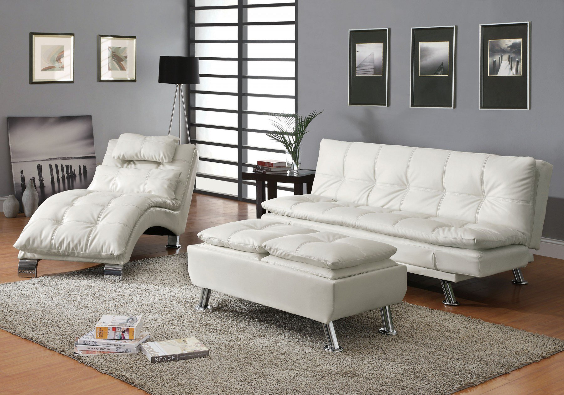 Superieur Simple Relax 1PerfectChoice 3 Pieces Dilleston White Futon Sleeper Sofa Bed  Set
