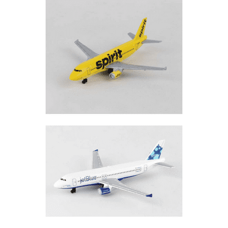 Spirit  Jetblue Airlines Diecast Airplane Package   Two 5 5  Diecast Model Planes