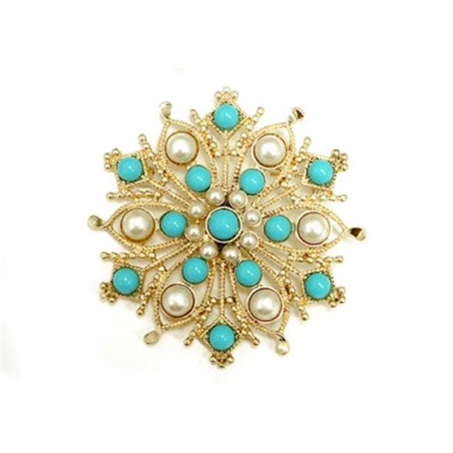C Jewelry Fabulous Design Turquoise And Pearl Bead Flower Gold Pin by C Jewelry