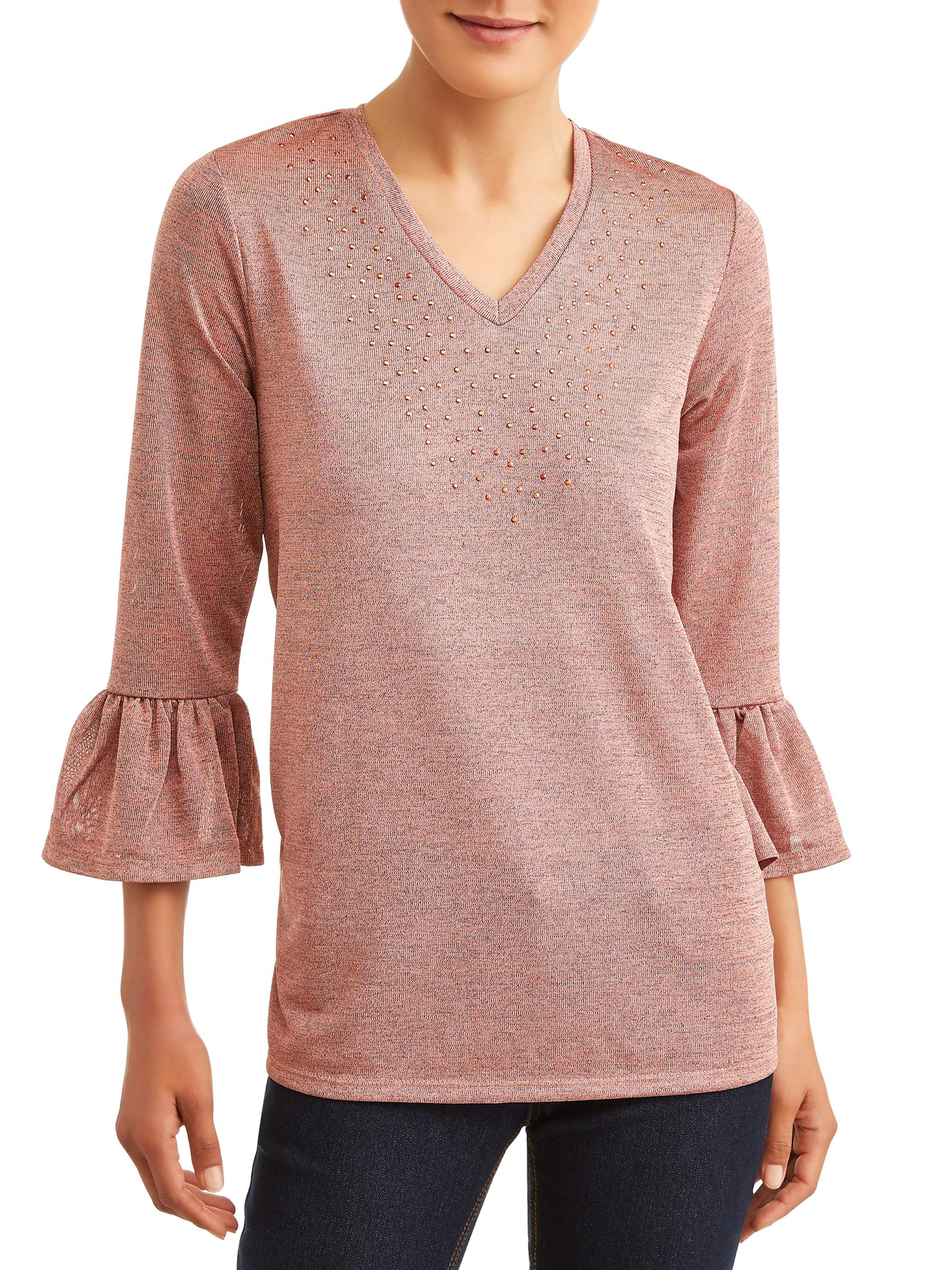 Women's Embellished Frill Sleeve Top