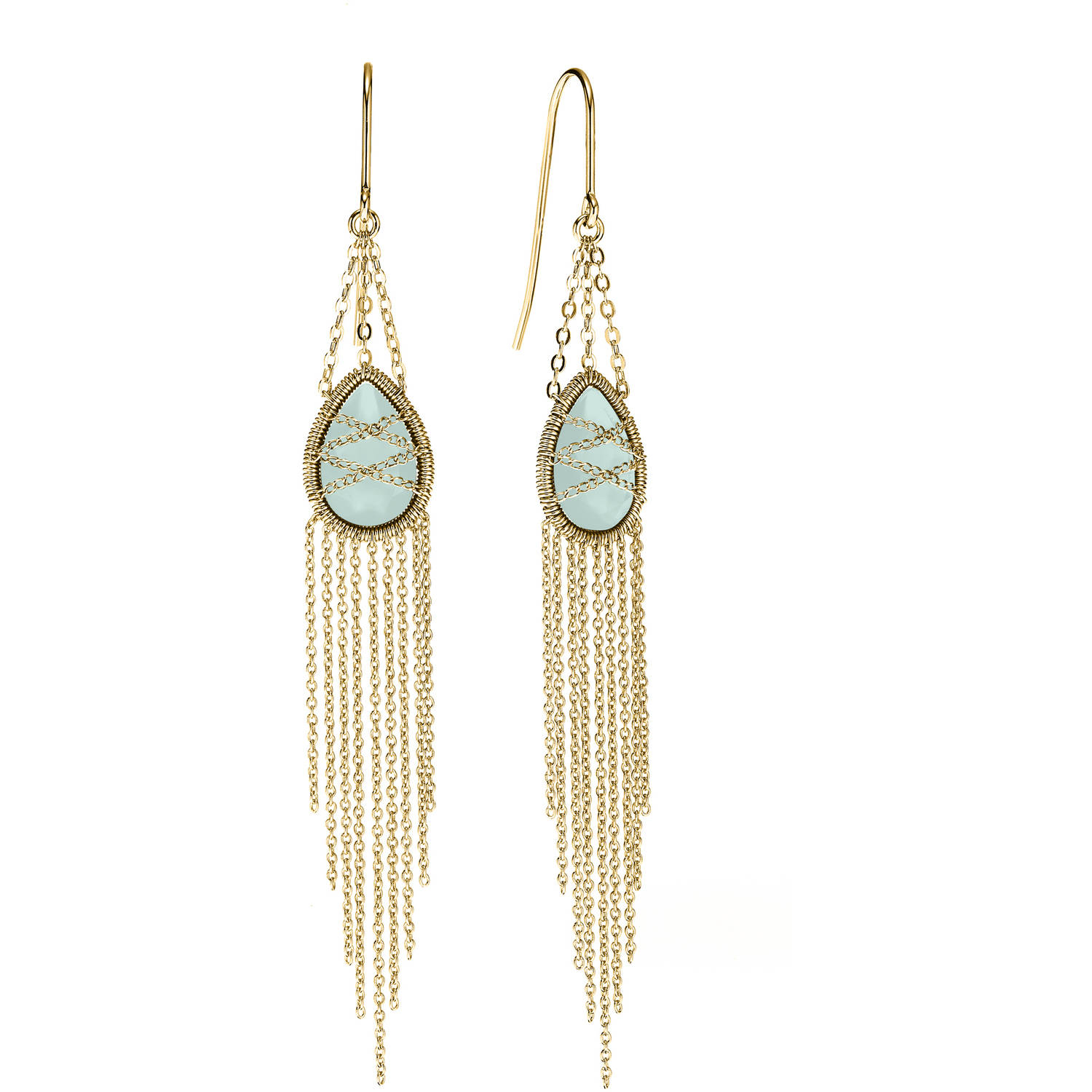 Image of 5th & Main 18kt Gold over Sterling Silver Hand-Wrapped Drape Chain Hanging Teardrop Chalcedony Stone Earrings