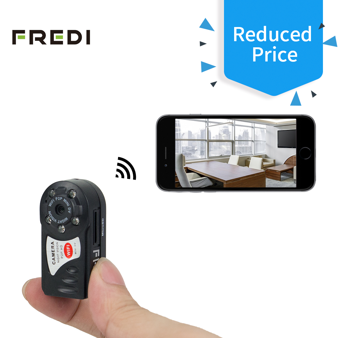 FREDI Mini Portable P2P WiFi IP Camera Indoor/Outdoor HD ...