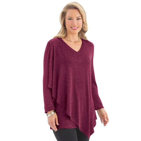 5bdc52433dc0 Collections Etc - Women's Asymmetrical Drape Long Sleeve Jersey Knit Top -  Made in the USA - Walmart.com
