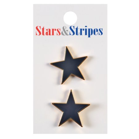 Le Bouton Navy & Gold Star Buttons, 2-Piece