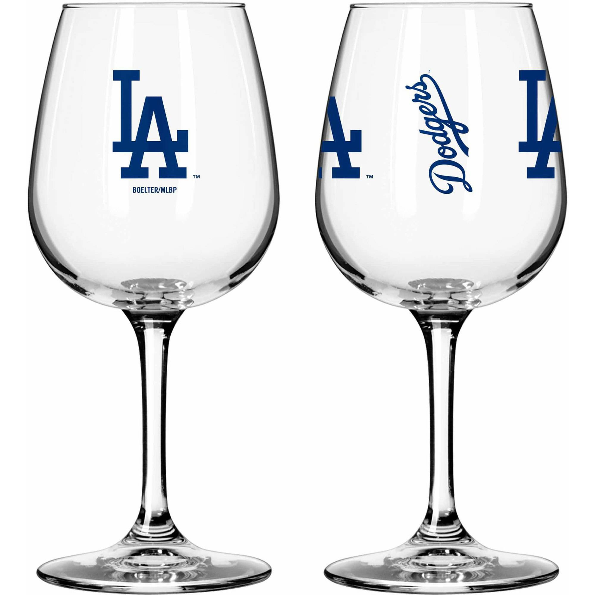 Boelter Brands MLB Set of Two 12 Ounce Wine Glass Set, Los Angeles Dodgers