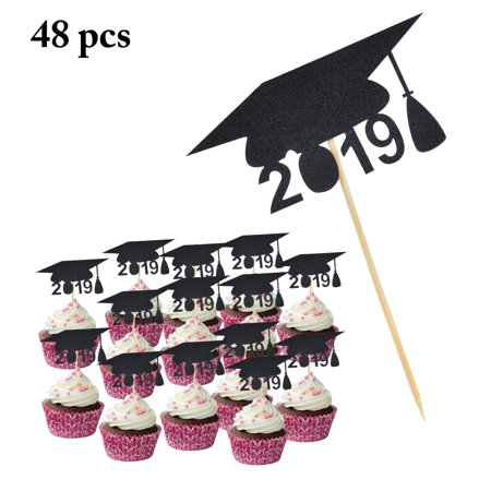 48PCS 2019 Graduation Cake Topper, 2019 Doctorial Hat Cupcake Topper Cake Decoration Graduation Party Supplies(Black/Golden) - Classic Cake Decorations
