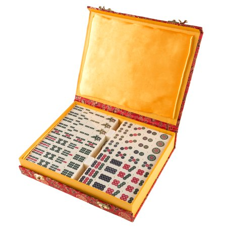 Chinese Mahjong Game Set with 146 Tiles, Dice, and Ornate Storage Case by Hey!