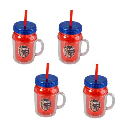 Disney Zak Designs Star Wars The Last Jedi Droids 12oz Canning Jar Double-Wall Tumblers (4pc Set) Novelty Character