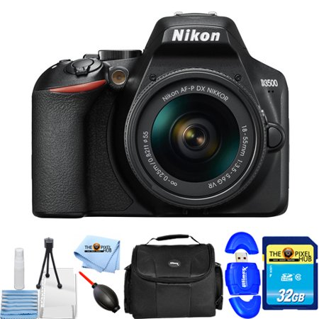 Nikon D3500 24.2MP DSLR Camera with 18-55mm VR Lens Starter Bundle with 32GB SD, Memory Card Reader, Gadget Bag, Blower, Microfiber Cloth and Cleaning Kit