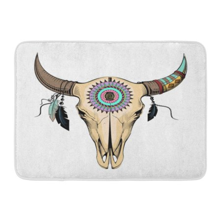 GODPOK Brown Aztec Beige Cow Bull Skull Blue Southwest Cattle Rug Doormat Bath Mat 23.6x15.7 inch