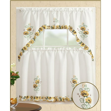 All American Collection 3pc Sunflower Kitchen Curtain Set (Kitchen Collection Curtain)