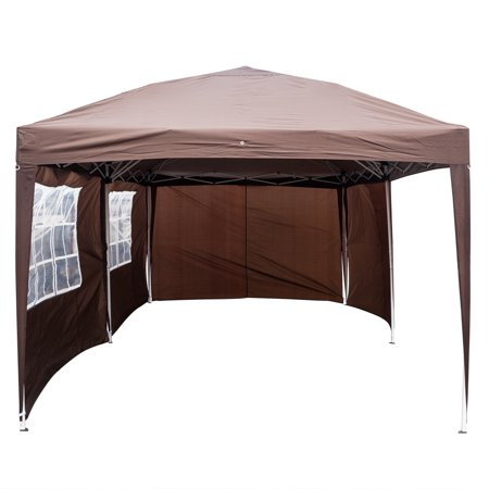 Clearance! Backyard Tent for Parties, URHOMEPRO Heavy Duty Wedding Party Tent, Pop Up Patio Gazebo with 4 Removable Sidewalls, Canopy Tent for Camping Outside Party BBQ, 10x20ft, Coffee, W599 Decorative Backyard Party Tent