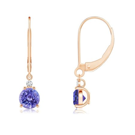 Tanzanite and Diamond Leverback Drop Earrings in 14K Rose Gold (5mm Tanzanite) - SE0998TD-RG-AAA-5