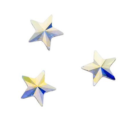 Swarovski Crystal, #2816 Rivoli Star Flatback Rhinestone 5mm, 10 Pieces, Crystal AB