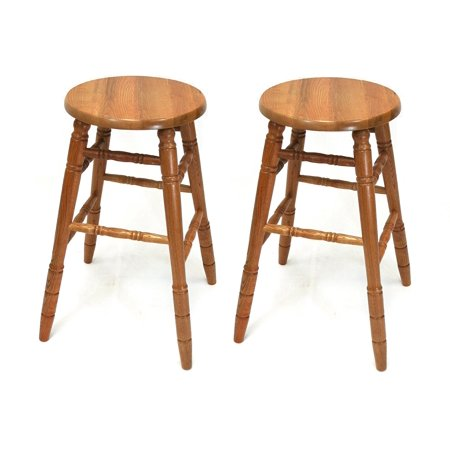 "eHemco 29"" Solid Oak Bar Stools in Oak Finish, set of 2"