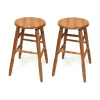 "eHemco 29"" Solid Oak Bar Stools in Oak Finish, set of 2 by Oak Bar Stools"