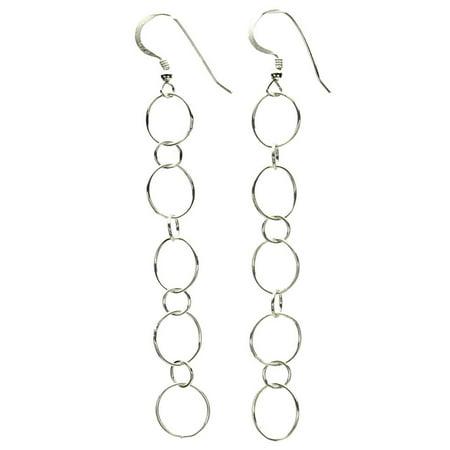 Long Link Earrings - Sterling Silver Open Circle Links Long Earrings