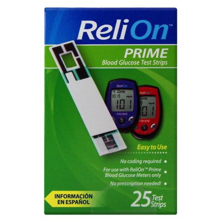 Relion Prime Blood Glucose Test Strips  25 Ct