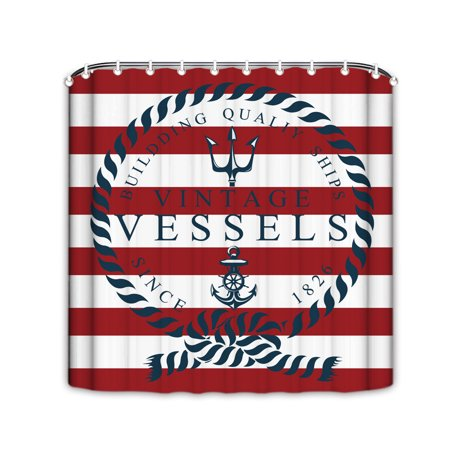 Popeven Nautical White Red Stripe Shower Curtain With HooksResistant Fabric For