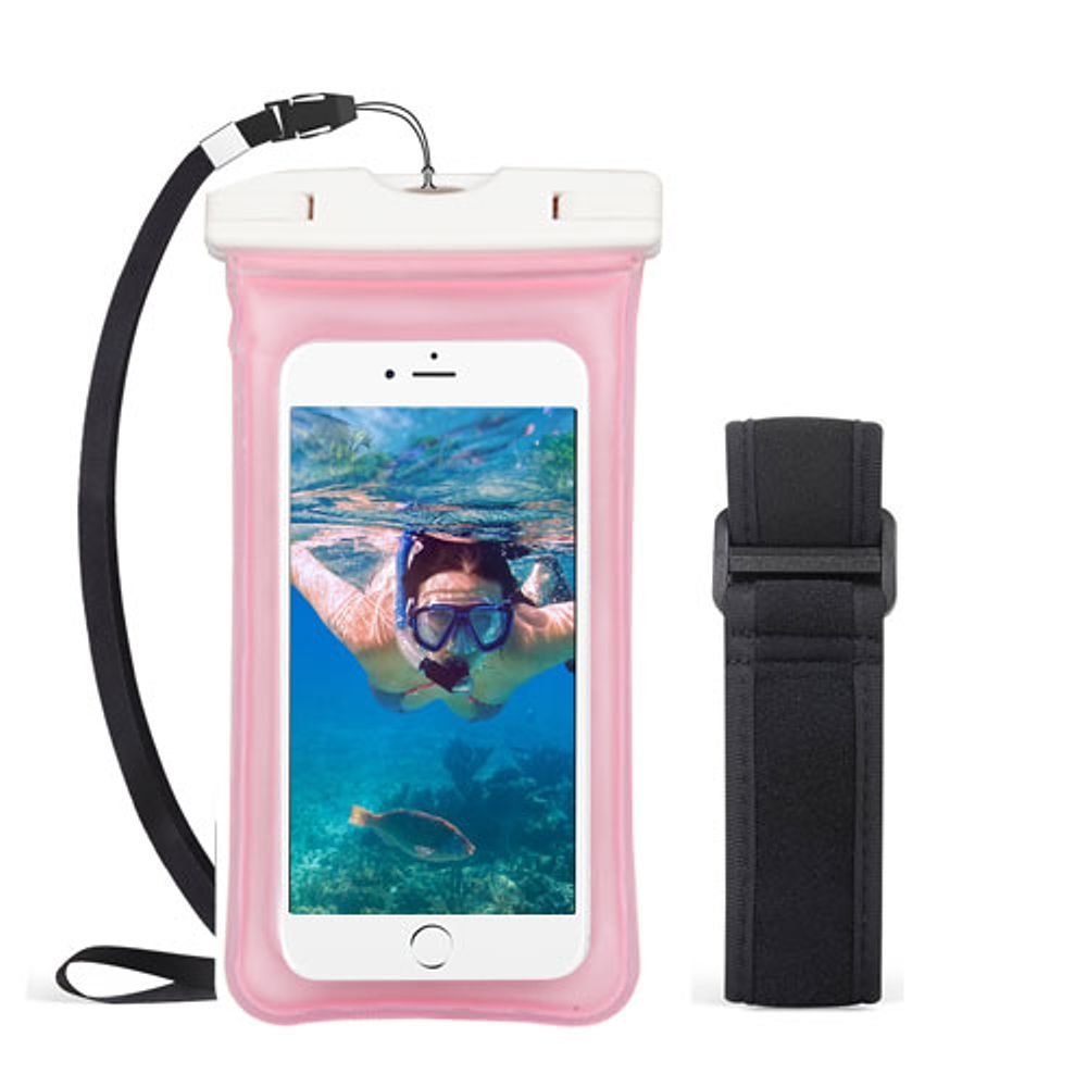 Insten Universal Underwater Waterproof Pouch Pack Bag Dry Case w/Lanyard/Armband - Pink