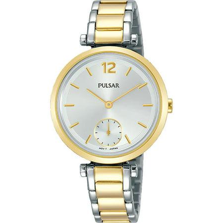 Two Tone Pulsar Fashion Watch - Pulsar Women's 32mm Two Tone Steel Bracelet Steel Case Quartz Silver-Tone Dial Analog Watch PN4064X1