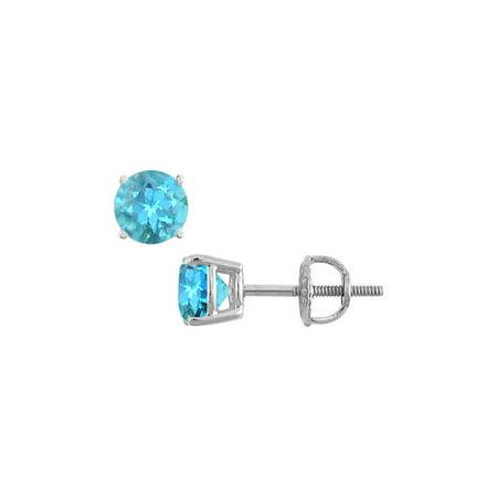 Blue Topaz Stud Earrings 14K White Gold 2.00 CT TGW - image 2 de 2