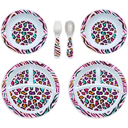 Gerber Graduates 6-Piece Dinnerware Set, Multi Animal Print, BPA ...