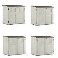 Suncast 34 Cubic Feet Horizontal Backyard Storage Stow Away Shed, Ivory (4 Pack)