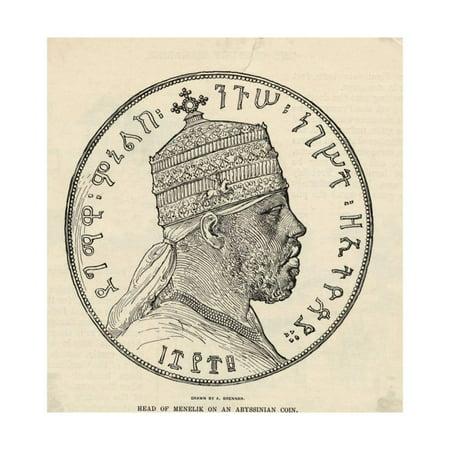 Portrait of Menelik II on Coin Print Wall Art