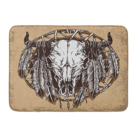 GODPOK Animal Black American Hand Drawn Cow Skull Feathers White Native Aztec Rug Doormat Bath Mat 23.6x15.7