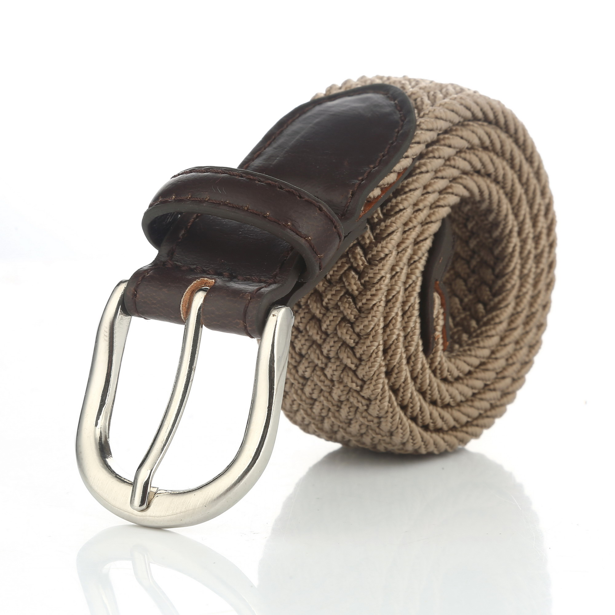 Gelante® Children's Canvas Elastic Fabric Woven Stretch Braided Belts 2012-Khaki-L (28-30)